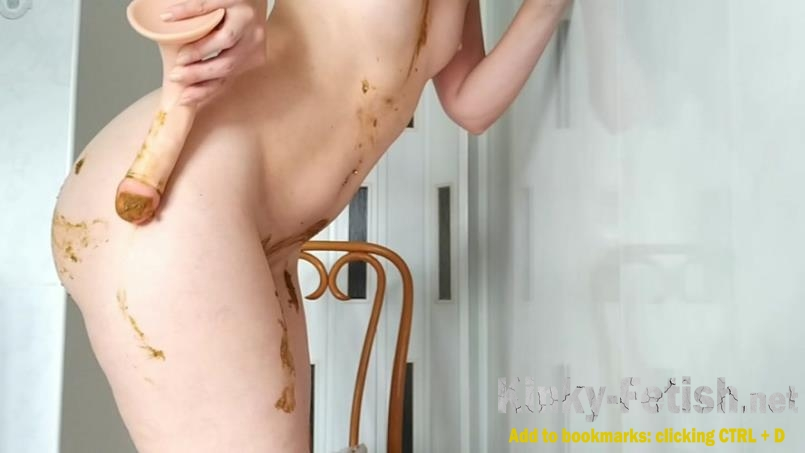 nastygirl - Sexy pooping on dildo playing and smearing (HD | 2017)