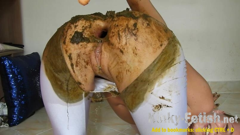 MissAnja  - Torn/White Giant Shit Filled Leggings Fun (FullHD | 2020)